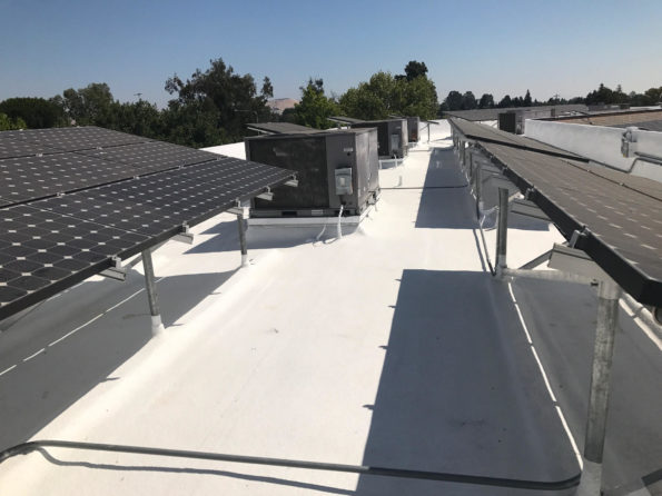 commercial roof with spray foam